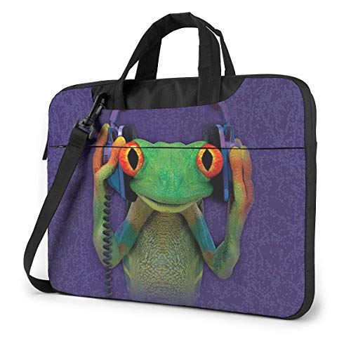 Dj Frog Laptop Shoulder Bag 15.6 Inch Laptop Messenger Case Laptop Sleeve Carrying Case with Strap