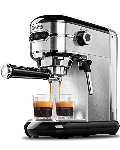 MICHELANGELO Espresso Machine, Stainless Steel Espresso Maker, Expresso Coffee Machine with Milk Frother, Small Coffee Maker for Home,15 Bar Espresso Machine - Cappuccino, Latte
