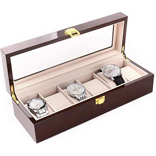 ANZRY Caja de Almacenamiento de Relojes 6 Rejillas Caja de Reloj Organizador de Caja Exhibición con Tapa de Vidrio para Guardar Relojes y Joyas