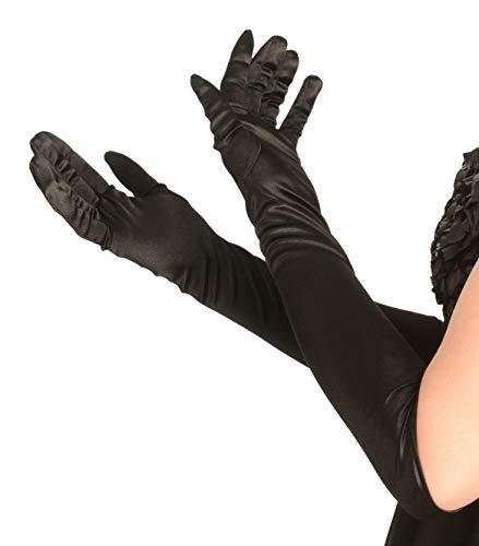 Kangaroo's One Size Elbow Length Black Opera Satin Gloves, Flapper Accessories