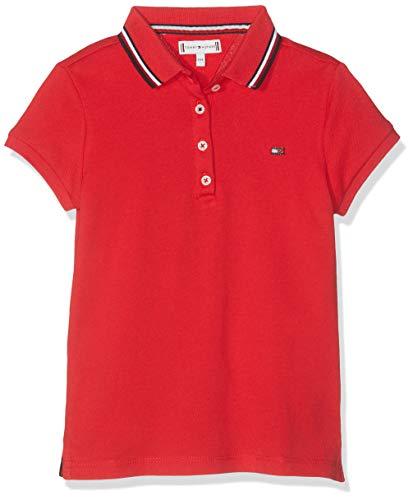 Tommy Hilfiger Mädchen Essential Polo S/S Poloshirt, Rot (True Red 635), 98 (Herstellergröße: 3)