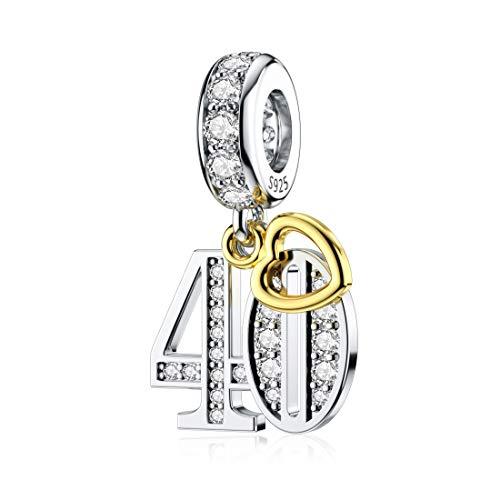 40th Happy Birthday Charm Silber 40 Anzahl Armband Charms für Mama Frau Schmuck GeschenkeMEHRWEG | Schmuck > Armbänder > Silberarmbänder | DALARAN