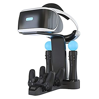 Skywin Playstation VR Charging Stand - PSVR Charging Stand to Showcase, Display, and Charge Your PS4 VR (Renewed)