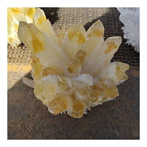 KAUG Hermosa Natural Amarillo Fantasma Phantom Cuarzo Cuarzo Racimo Curación Espécimen Decoración del hogar Sala de Estar Cristal Decora (Size : 400-500g)