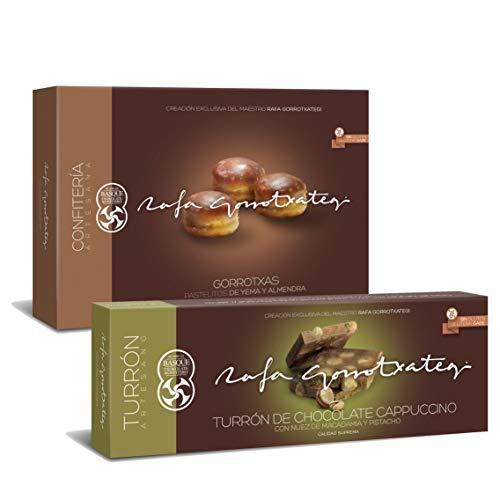 Gorrotxas y turrón de cappuccino con nueces de macadamia y pistachos