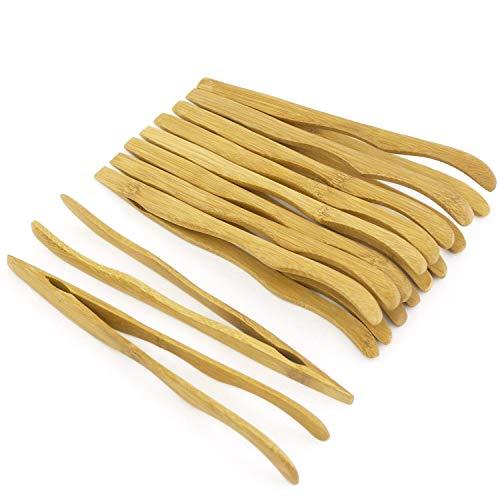 Heißer Verkauf 16cm Mehrweg Bambus Zangen, Gebogene Arme, Holz Farbe-10 Stück-Toast Zange