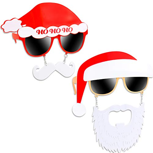 Konsait Pack of 2 Christmas Sunglasses Prop, Santa Claus Christmas Party Sunglasses Frame Creative Funny Eyeglasses Xmas Costume Glasses Christmas New Year Party Favors Supplies Decoration