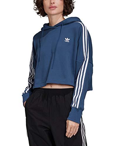 adidas Womens Cropped Hooded Sweatshirt, Night Marine/White, 36