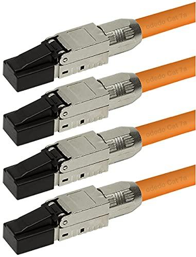odedo 4 conectores de red CAT6A y CAT7 RJ45 hasta 10 Gigabit para cables de red, montaje sin herramientas, también PoE+, AWG 22-26