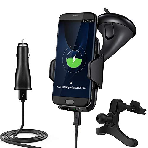 Qi Car Wireless Charger Mount, Fast Wireless Charging Pad Vehicle Dock for IPHONE X 8 8plus Samsung Galaxy S8 Plus Note 8 S7 Edge S6 Edge Note 5,Nokia Lumia, Google Nexus, LG and Qi-enabled Devices