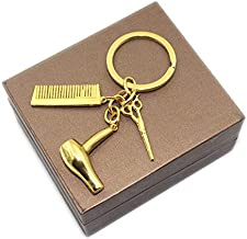 Bigsweety Creative Hair Dryer Scissors Comb Pendant Keychain Keyring Gift for Hairdresser Accessories, Gold