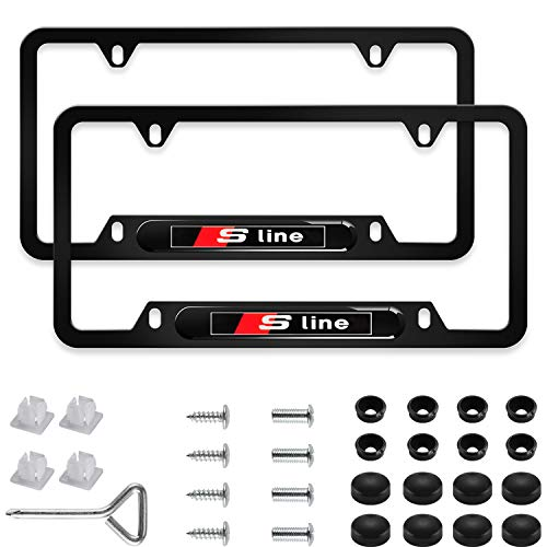 Sparkle-um 2Pcs Newest Custom Personalized 4 Hole Matte Aluminum Alloy Sline Logo License Plate Frame with Screw Caps Cover Set,Applicable to US Standard car License Frame,for Audi Sline(Matte Black)