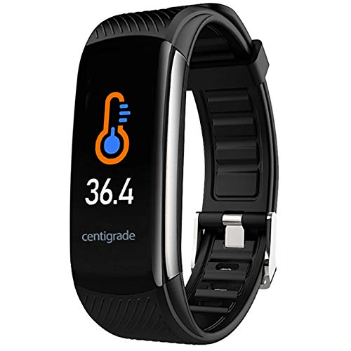 PYBBO Temperature Measurement Smart Watch, Activity Fitness Trackers Exercise Fitness with Heart Rate Blood Pressure and Sleep Monitor, Calorie Counter, Step Counter, Compatible Android/iOS (Black)