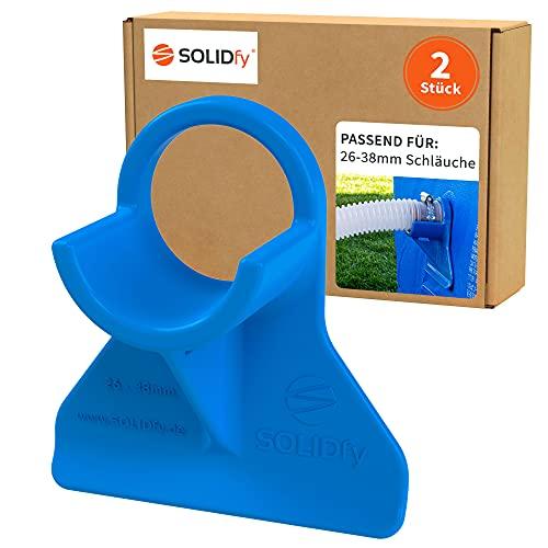 SOLIDfy - 2 soportes de manguera de piscina de 26 mm - 38 mm, protección contra torceduras de plástico en color azul para Intex y Bestway