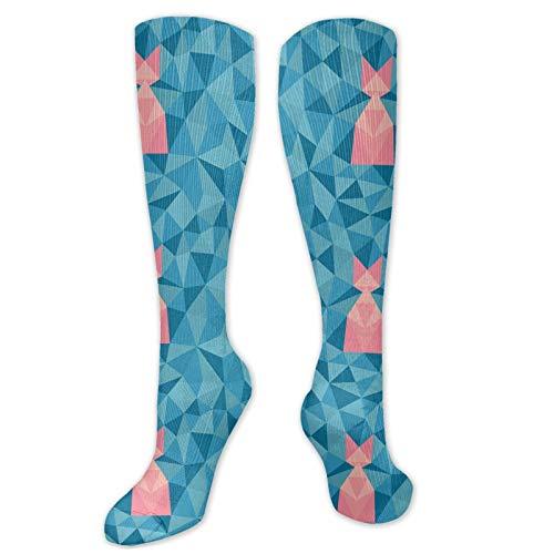 Calcetines para mujer, diseño abstracto de polígono con triángulos, composición moderna de mosaico, calcetines divertidos para mujer, calcetines de algodón para mujer