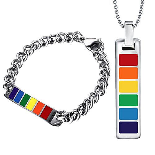 MagiDeal Conjunto de Pulsera y Collar Arcoiris de Acero Inoxidable Gay Lesbiana LGBT Orgullo Joyería