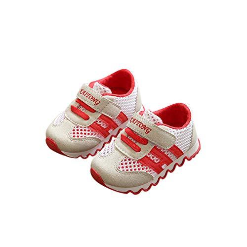 DEBAIJIA Zapatos para Niños 0-3T Bebés Caminata Niños Niñas Suela Suave Lona Antideslizantes TPR Material 17/18 EU Rojo (Tamaño Etiqueta 15)