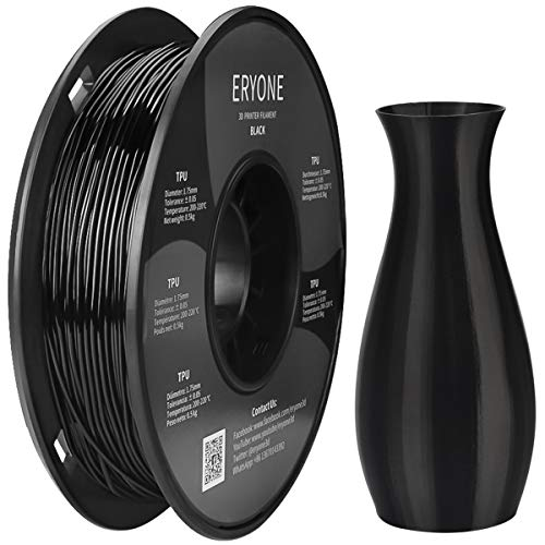 Filament TPU 1.75mm Black, Eryone TPU Filament 1.75mm, 3D Printing Filament TPU for 3D Printer, 0.5kg 1 Spool