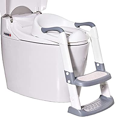 Potty Training Toilet Seat with Adjustable Step Stools Ladder for Boys and Girls,Non-Slip Children Potty Chair with Handles and Removable Soft Cushion,Toddler Portable Training Toilet Seat (Grey) by Wiifo