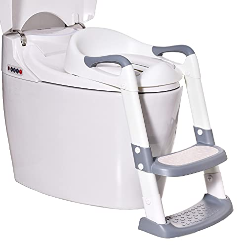 Potty Training Seat Toddler Toilet Seat with Adjustable Step Stools Ladder for Boys and Girls,Wiifo Foldable Non-Slip Children Potty Chair with Handles Portable Training Toilet Seat (White and Grey)