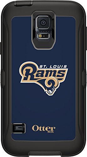 OtterBox Defender Case for Samsung GALAXY S5 - Retail Packaging - NFL Rams (Black St Louis Rams NFL Logo)