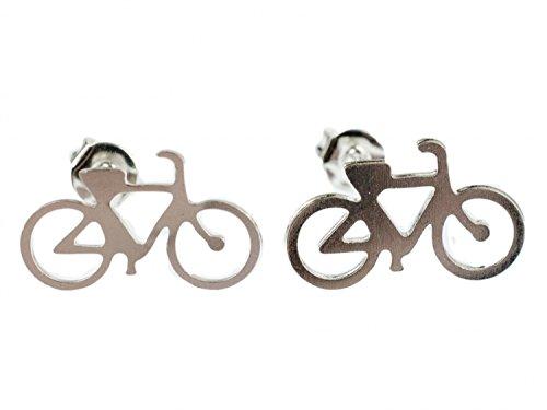 Miniblings Fahrrad Mountainbike Ohrstecker Fahrräder Bike silber - Handmade Modeschmuck I Ohrringe Stecker Ohrschmuck