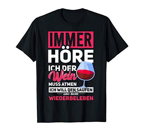 Wein und Vino | Weinliebhaber Geschenk | Lustiger Spruch T-Shirt