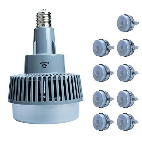 RealLED HQL Leuchte LED Ersatz für Hallenstrahler HQL E40 80 Watt Tageslichtweiß 5000 Kelvin (10 Stück)