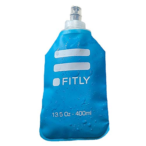 FITLY Soft Flask for Hydration Pack - Ideal for Running Hiking Cycling Climbing - Collapsible Water Bottle (13.5 oz - 400 ml)…