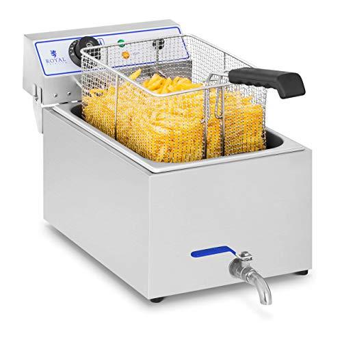 Royal Catering Freidora Electrica Profesional RCEF 15E (17 L, 3.000 W, Termostato, Rango de temperatura 60-200 °C, Grifo de vaciado, Acero inoxidable)