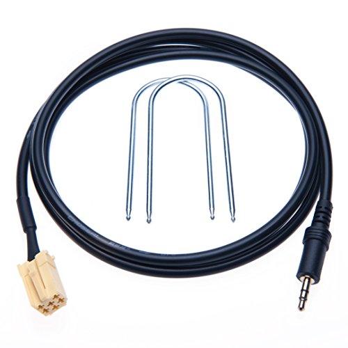 Keple audio-adapterkabel (3,5 mm jack naar AUX-ingang), voor het aansluiten van de mobiele telefoon of mp3-speler op uw auto, geschikt voor Fiat Grande Punto (vanaf 2007)
