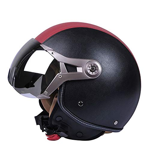 TBTBZXCV Half Helmet Motorcycle Contoured Open Face Helmet,DOT/ECE Approved Motorbike Helmet with Built-in Sun Visor Retro Motorcycle Cap, for Scooter Bobber Chopper Cruiser Pilot Racing
