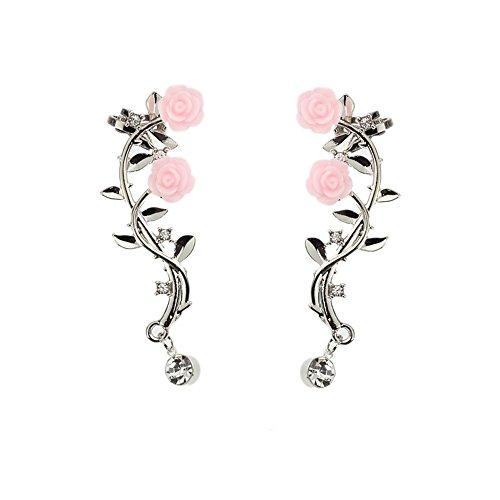 HOMEYU Ear Crawler Orecchini Rampicanti Rose Flower Vine Design Ear Cuff Pin Vine Wrap Stud Rhinestone di Cristallo Clip su Jewelly