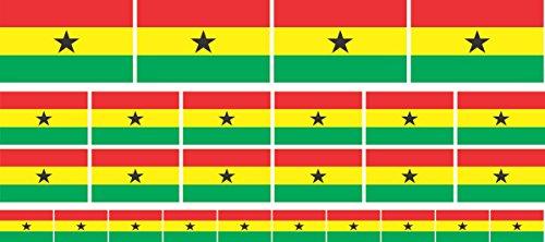 Mini Aufkleber Set - Pack glatt - 4x 51x31mm+ 12x 33x20mm + 10x 20x12mm- Sticker - Fahne - Ghana - Flagge - Banner - Standarte fürs Auto, Büro, zu Hause & die Schule - Set of 26