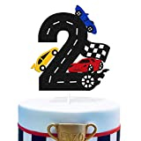 Two Fast Cake Topper 2nd Race Car Driver Checkered Racing Themed for Kids Boy Girl Second Happy...