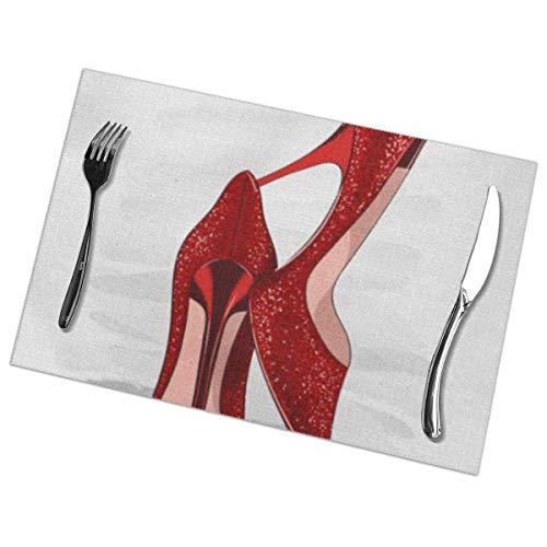 Juego de 6 manteles individuales antideslizantes, lavables, estilete, rojo, brillante, tacones, zapatos, accesorio, hermosa belleza, clásico