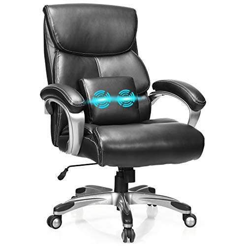 POWERSTONE Big and Tall Office Chair 400lbs - Ergonomic Office Chairs PU Leather Computer Chair Adjustable Large Executive Chair with Lumbar Support Armrest Swivel Rolling Desk Chair, Black