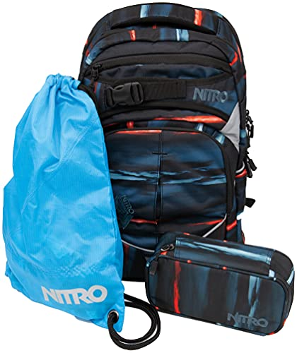 Nitro Superhero, Schulrucksackset, Rucksack, Backpack, abnehmbarer Hüftgurt, robuste Bodenplatte, Thermotasche, Laptopfach, Turnbeutel & Pencil Case XL,Acid