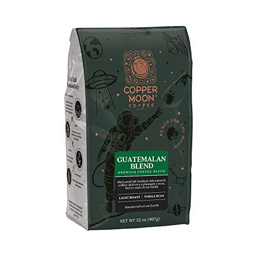 Copper Moon Guatemalan Antigua Blend, Whole Bean Coffee, 2 Pound Bag, Light Roast Coffee from Guatemala, Rich, Smooth, and Mild, with A Nutty Finish