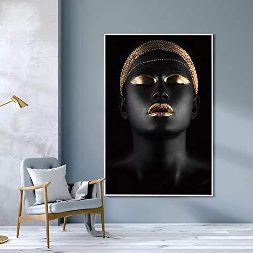 Geiqianjiumai Mujeres africanas Negras y Doradas- Impresión en Lienzo-Decoración de Pared de Arte Moderno-fotomurales -Pintura sin marco-60x90cm