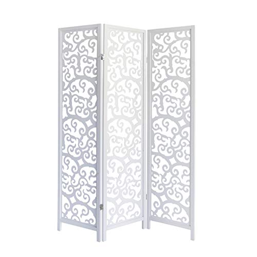 Homestyle4u 895, Paravent Raumteiler 3 teilig, Kiefer Holz Ornamente, Weiß