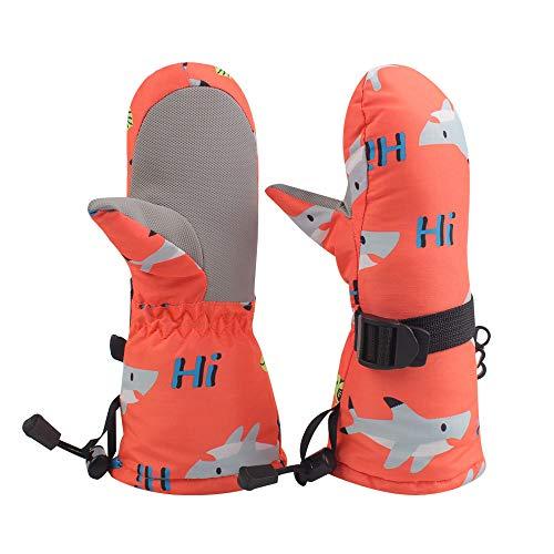 Winter Kids Waterproof Gloves for Boys Girls Snow Ski Toddler Baby Mittens Outdoor for Infant Teens 1-5T (Orange shark, S(12-24M))