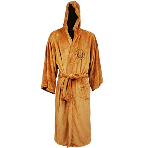 ZIXUN Men's Jedi Bathrobe with Hoodie Warm Onesie Pajamas for Christmas Halloween Brown L