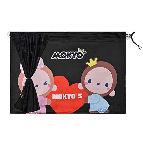 WZM Ventana Parasoles Laterales para Coches Parasol de Coche Cortina Doble de Dibujos Animados con Ventosa de Doble Propósito de Verano e Invierno 2 Piezas (46 * 68 cm) Cuadra (Color : Lovers Monkey)