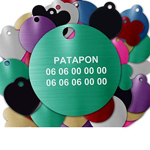Gravure Concept Médaille pour Chien Et Chat À Personnaliser – Médaillon Gravé 31 mm - 1 à 3 Lignes – 8 Couleurs Disponibles (Vert, Rond)