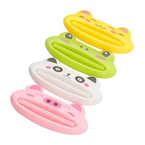 Auplew Spremiagrumi per dentifricio, 4 pezzi, tubetto Squeezer multifunzione, cartoon animali, bagno, cucina