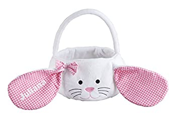 Miles Kimball Personalized Kids Easter Basket Plush White Bunny with Floppy Gingham Ears