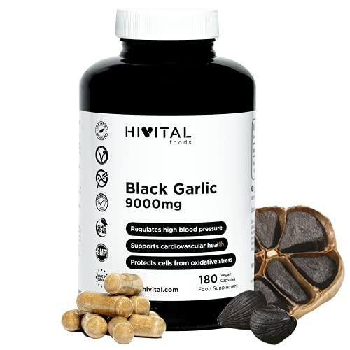 Ajo Negro 9000 mg. 180 cápsulas veganas para 6 meses. Extracto de Ajo Negro SIN OLOR Allium Sativum. Antioxidante Natural para la tensión y la salud cardiovascular
