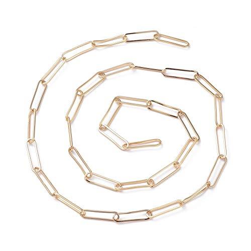 Stiesy - Cadena alargada de latón de 16,4 pies/5 metros para hacer collares de cadena de latón chapado en oro de 18 quilates para mujer, cadena alargada, 22,8 x 5,3 x 1 mm