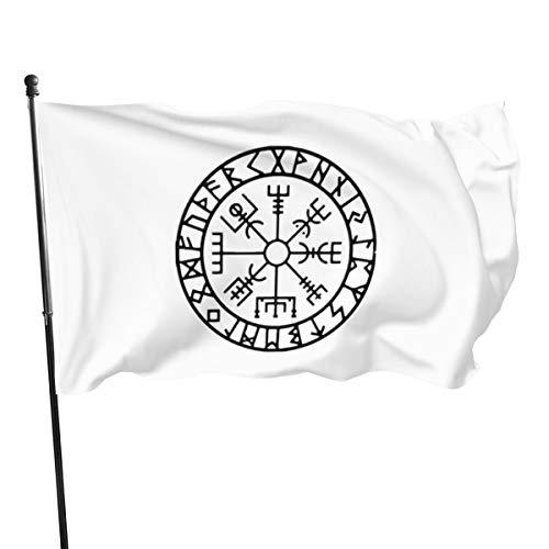 ioejhkjk, Wikinger-Symbol, nordische Kompass-Flagge, Polyester, Banner, Flaggen, 7,6 x 12,7 cm, Polyester, Schwarz , Einheitsgröße